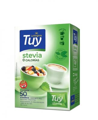 Edulcorante Stevia Cero Calorias Tuy X 50 Sobres