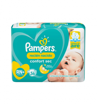 Pañales Pampers Confort Sec Rn X 36 Unidades