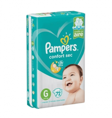 Pañales Pampers Confort Sec G X 72 Unidades
