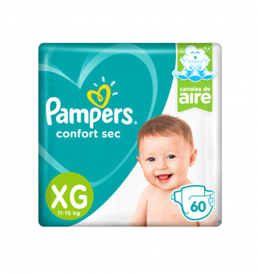 Pañales Pampers Confort Sec Xg X 60 Unidades